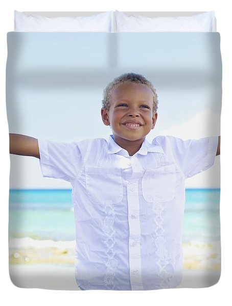 Boy On Beach Duvet Cover by Kicka Witte