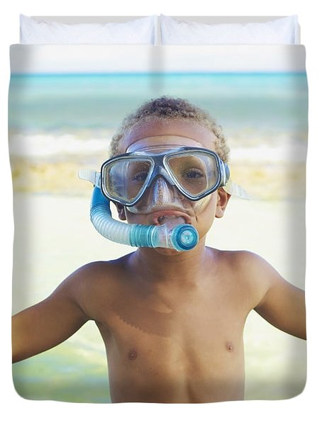 Boy With Snorkel Duvet Cover by Kicka Witte