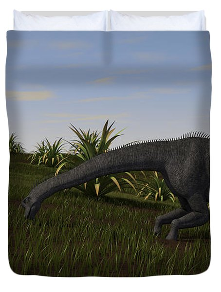 Brachiosaurus Grazing In A Grassy Field Duvet Cover by Kostyantyn Ivanyshen