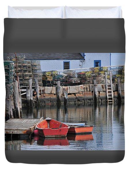 Bradley Wharf Dinghies Duvet Cover by Mike Martin