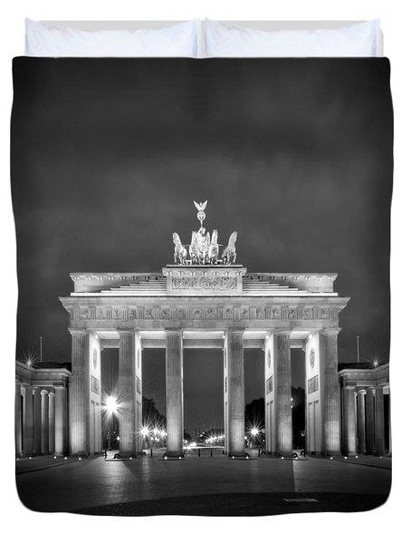 Brandenburg Gate Berlin Black And White Duvet Cover by Melanie Viola