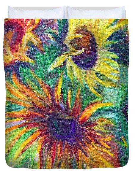 Brandy's Sunflowers - Still Life On Windowsill Duvet Cover by Talya Johnson