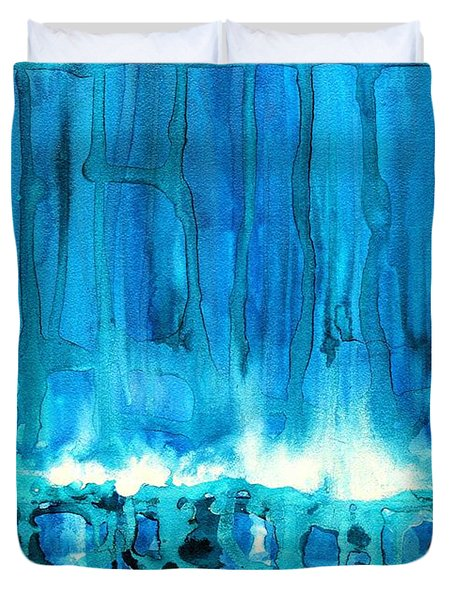Breakers off Point Reyes original painting Duvet Cover by Sol Luckman