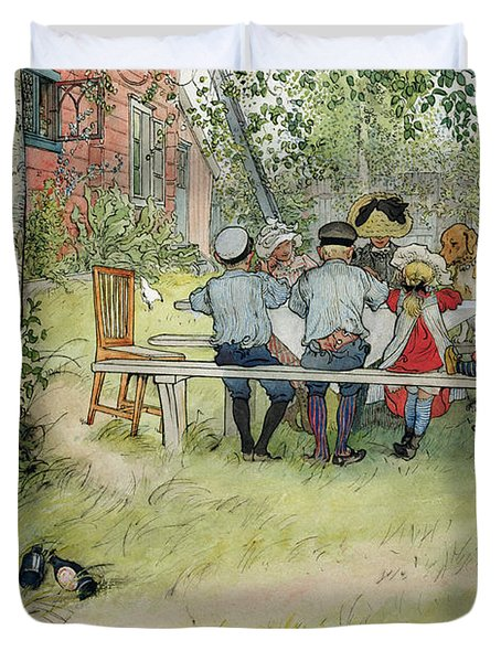 Breakfast Under The Big Birch Duvet Cover by Carl Larsson
