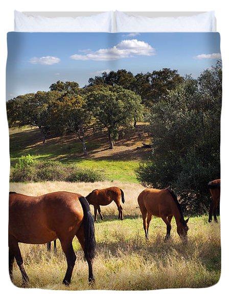 Breed Of Horses Duvet Cover by Carlos Caetano