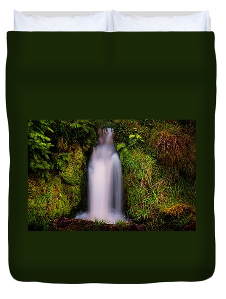 Bridal Dress. Waterfall At Benmore Botanical Garden. Nature Of Scotland Duvet Cover by Jenny Rainbow