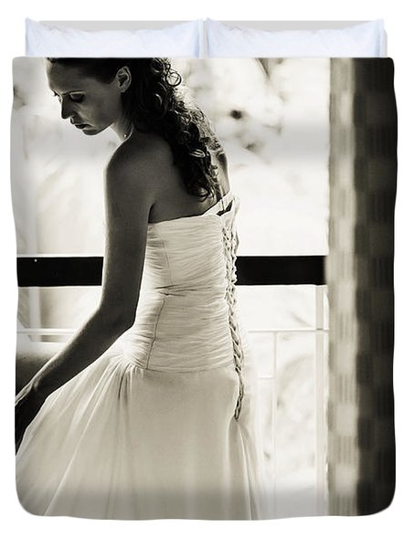 Bride at the Balcony II. Black and White Duvet Cover by Jenny Rainbow