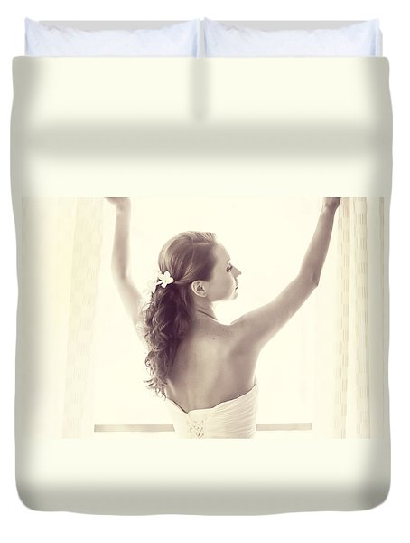 Bride At The Window Duvet Cover by Jenny Rainbow