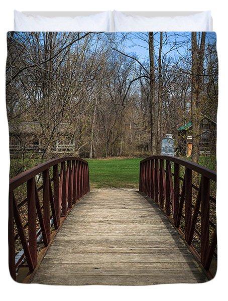 Bridge In Deep River County Park Northwest Indiana Duvet Cover by Paul Velgos