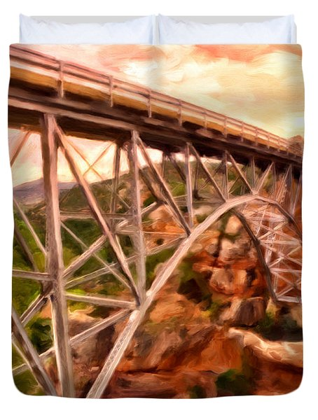 Bridge In Oak Creek Canyon Duvet Cover by Michael Pickett
