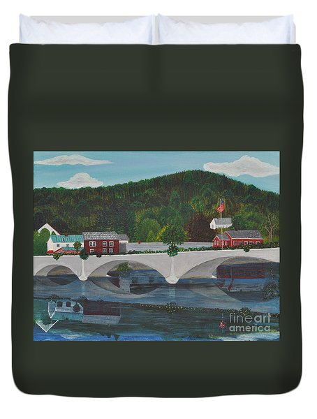 Bridge Of Flowers Duvet Cover by Sally Rice