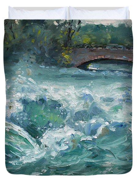 Bridge To Goat Island Duvet Cover by Ylli Haruni
