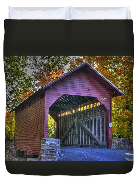 Bridge To The Past Roddy Road Covered Bridge-a1 Autumn Frederick County Maryland Duvet Cover by Michael Mazaika