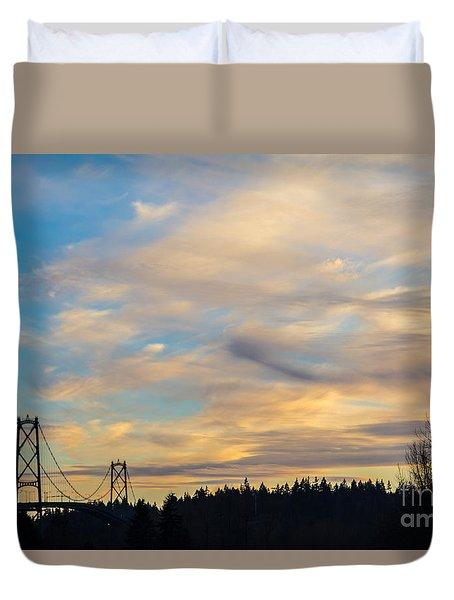 Bridge View Sunset Duvet Cover by Alanna DPhoto