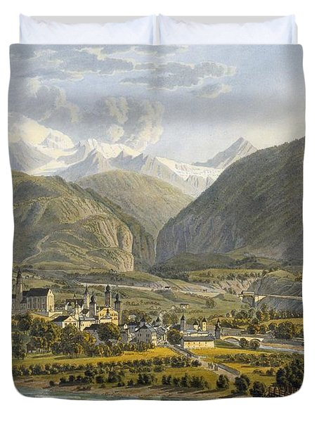 Brig On The Rhone, Bernese Alps Duvet Cover by Swiss School