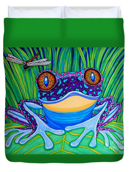 Bright Eyed Frog Duvet Cover by Nick Gustafson