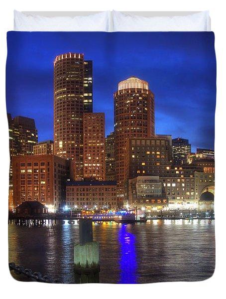 Bright Lights Boston Duvet Cover by Joann Vitali