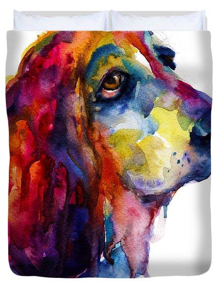 Brilliant Basset Hound watercolor painting Duvet Cover by Svetlana Novikova