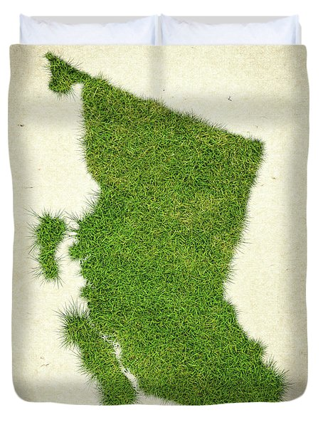 British Columbia Grass Map Duvet Cover by Aged Pixel