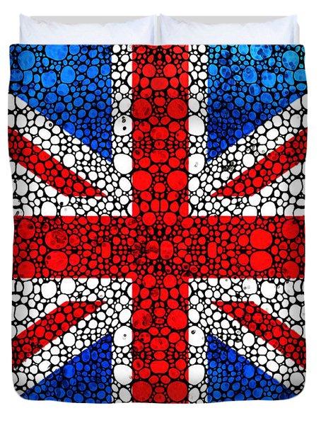 British Flag - Britain England Stone Rock'd Art Duvet Cover by Sharon Cummings