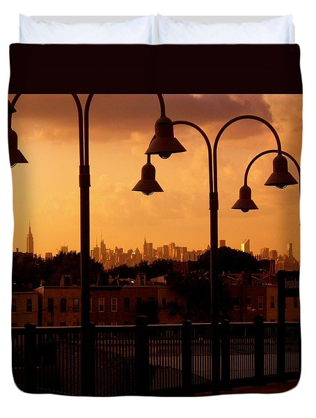 Broadway Junction In Brooklyn Duvet Cover by Monique Wegmueller