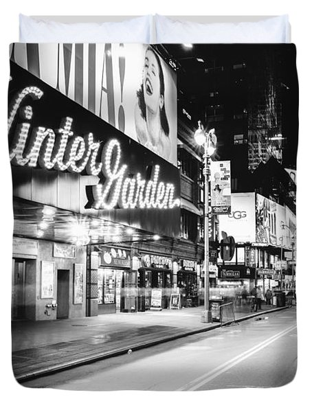 Broadway Theater - Night - New York City Duvet Cover by Vivienne Gucwa