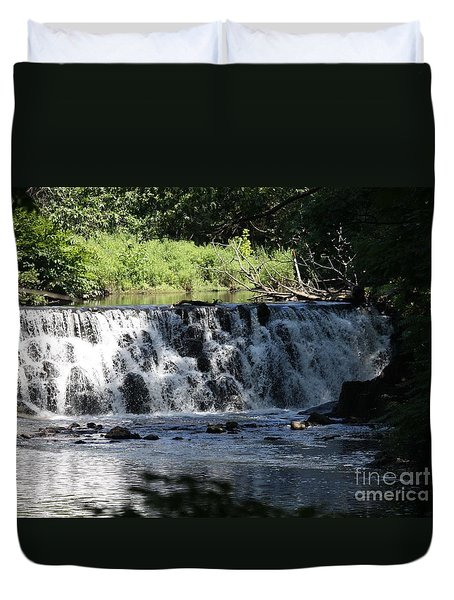 Bronx River Waterfall Duvet Cover by JOHN TELFER