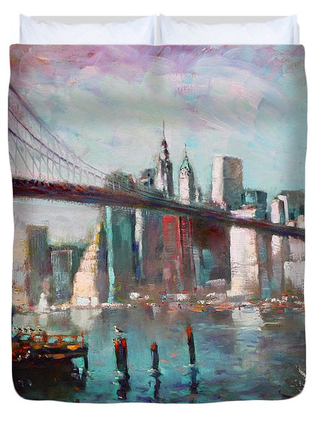 Brooklyn Bridge And Twin Towers Duvet Cover by Ylli Haruni