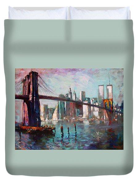 Brooklyn Bridge And Twin Towers Duvet Cover by Ylli Haruni