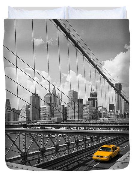 Brooklyn Bridge View NYC Duvet Cover by Melanie Viola