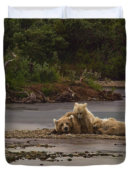 Brown Bear And Cubs Taking A Break From Fishing For Salmon Duvet Cover by Dan Friend