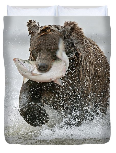 Brown Bear with Salmon catch Duvet Cover by Gary Langley