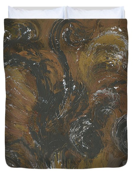 Brown Color of Energy Duvet Cover by Ania Milo