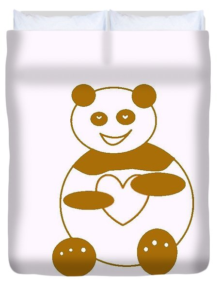 Brown Panda Duvet Cover by Ausra Huntington nee Paulauskaite