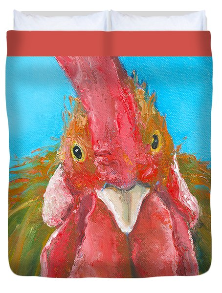 Brown Rooster On Blue Duvet Cover by Jan Matson