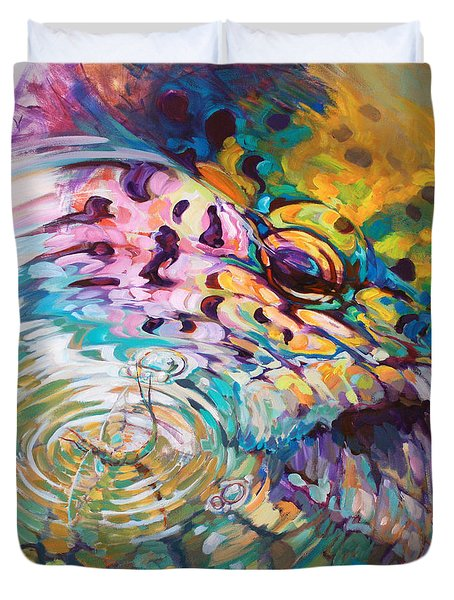 Brown Trout And Mayfly - Abstract Fly Fishing art  Duvet Cover by Mike Savlen