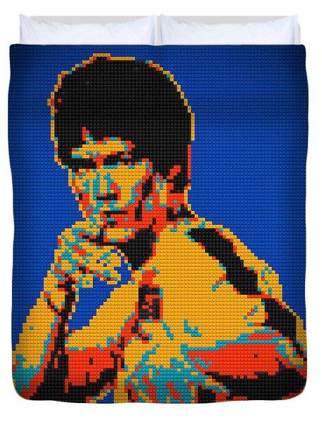 Bruce Lee Lego Pop Art Digital Painting Duvet Cover by Georgeta Blanaru