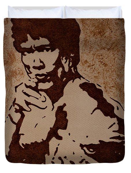 Bruce Lee Original Coffee Painting Duvet Cover by Georgeta Blanaru