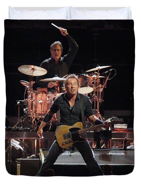 Bruce Springsteen In Concert Duvet Cover by Georgia Fowler