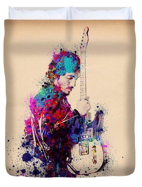 Bruce Springsteen Splats And Guitar Duvet Cover by Bekim Art