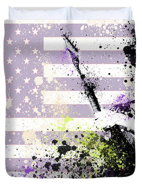 Bruce Springsteen Splats Duvet Cover by Bekim Art