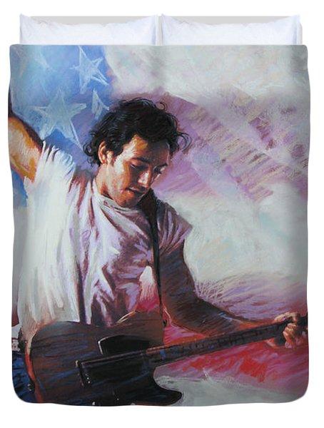 Bruce Springsteen The Boss Duvet Cover by Viola El