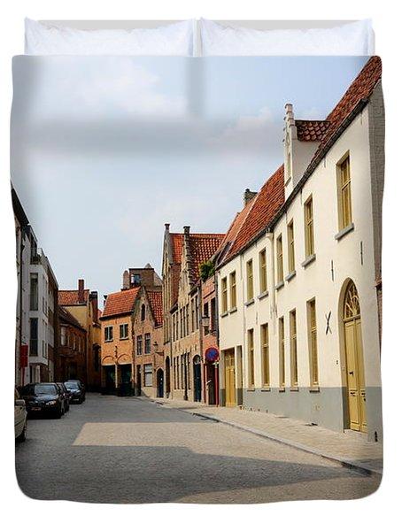 Bruges Side Street Duvet Cover by Carol Groenen