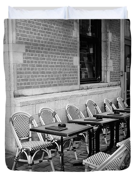 Brussels Cafe in Black and White Duvet Cover by Carol Groenen