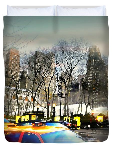 Bryant Park Taxi Duvet Cover by Diana Angstadt