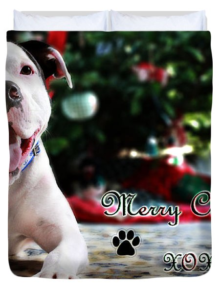 Bubba's First Christmas Duvet Cover by Shelley Neff