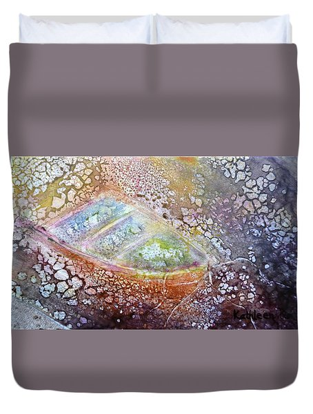 Bubble Boat Duvet Cover by Kathleen Pio
