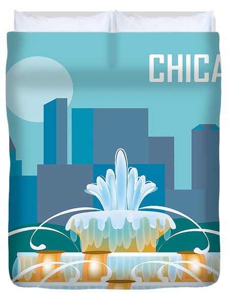 Buckingham Fountain Chicago Duvet Cover by Karen Young