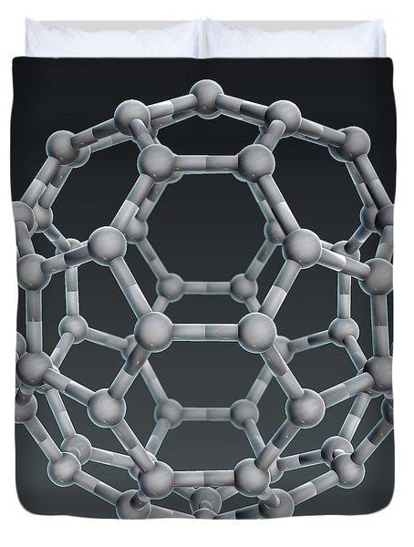 Buckminsterfullerene Molecular Model Duvet Cover by Evan Oto