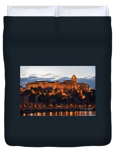 Budapest Palace At Night Hungary Duvet Cover by Imran Ahmed